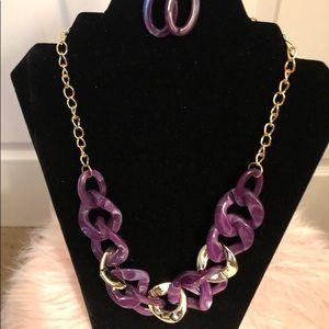 Purple and Gold Necklace with earrings to match.